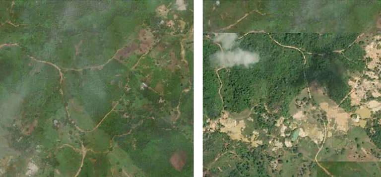 Expansión de la explotación ilegal de oro en el Complejo Cenagoso de Ayapel,Sitio RAMSAR en el departamento de Córdoba (izquierda 2015, derecha 2018).Imágenes Worldview en el informe EVOA 2019.