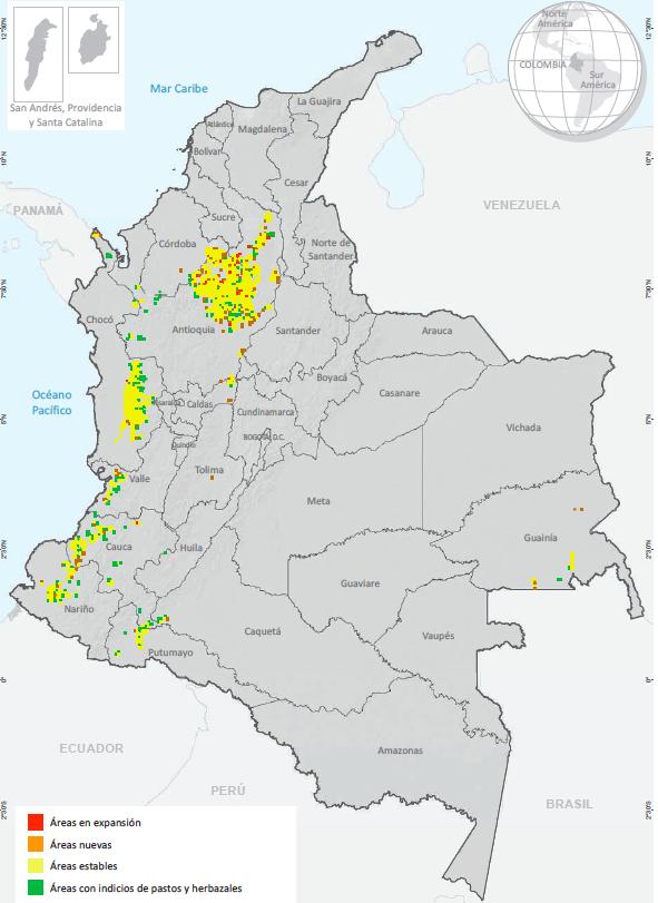 Evolución de las evidencias de explotación de oro de aluvión en Colombia, entre 2018 y 2019. Fuente: Gobierno de Colombia - Sistema de monitoreo apoyado por UNODC.