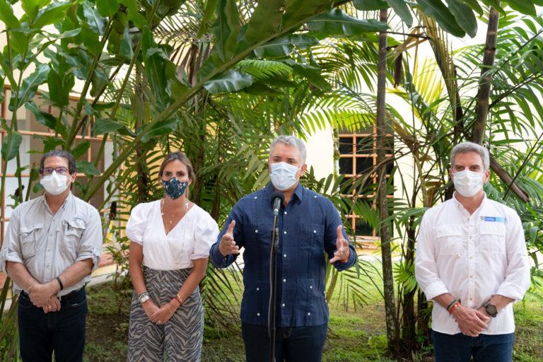 El Presidente Duque, el 8 de enero de 2021 en Leticia, durante la presentación del primer Documento Conpes 4021 para el control de la deforestación y la gestión sostenible de los bosques. Foto: César Carrión - Presidencia.