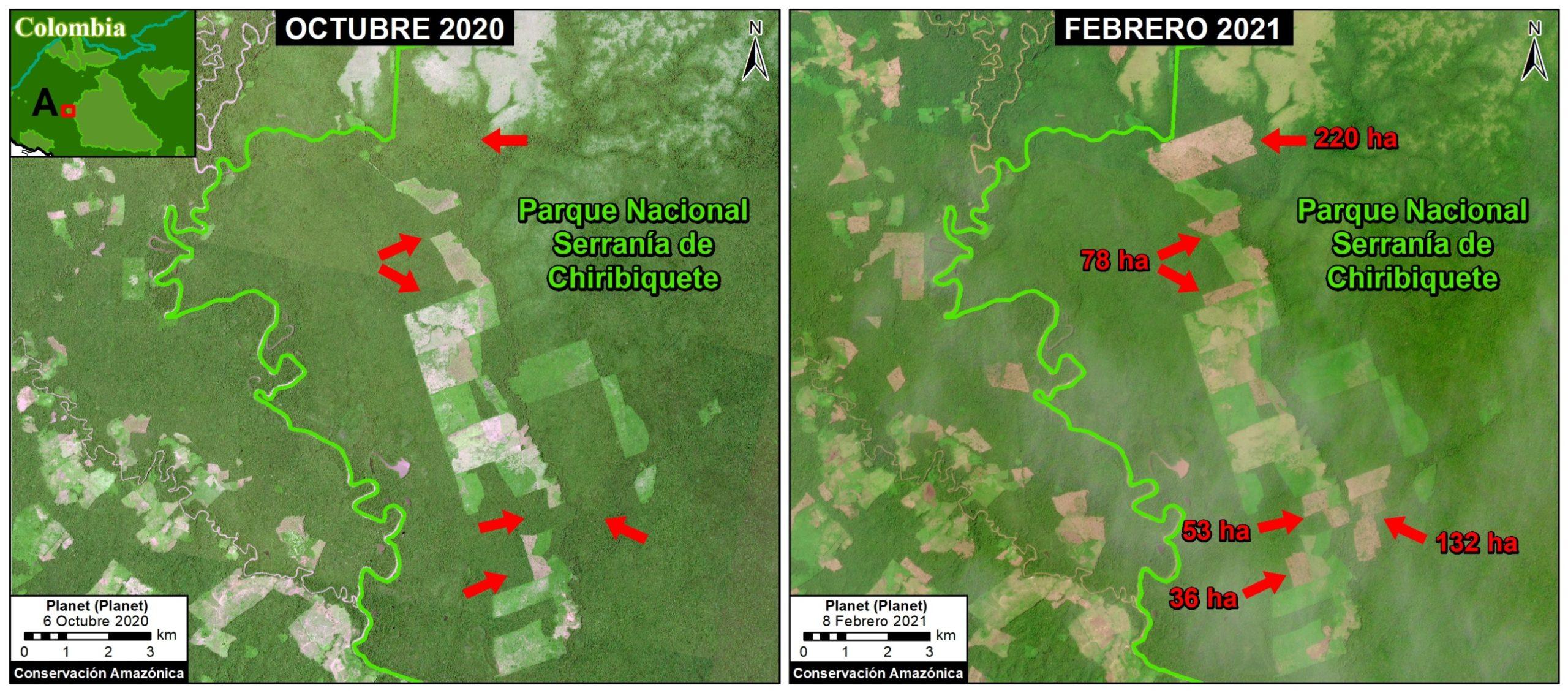 Deforestación en el Parque Nacional Chiribiquete, sector oeste 1. Coordenada de referencia: 1.05497° N, 74.26465° W. Datos: Planet, MAAP.