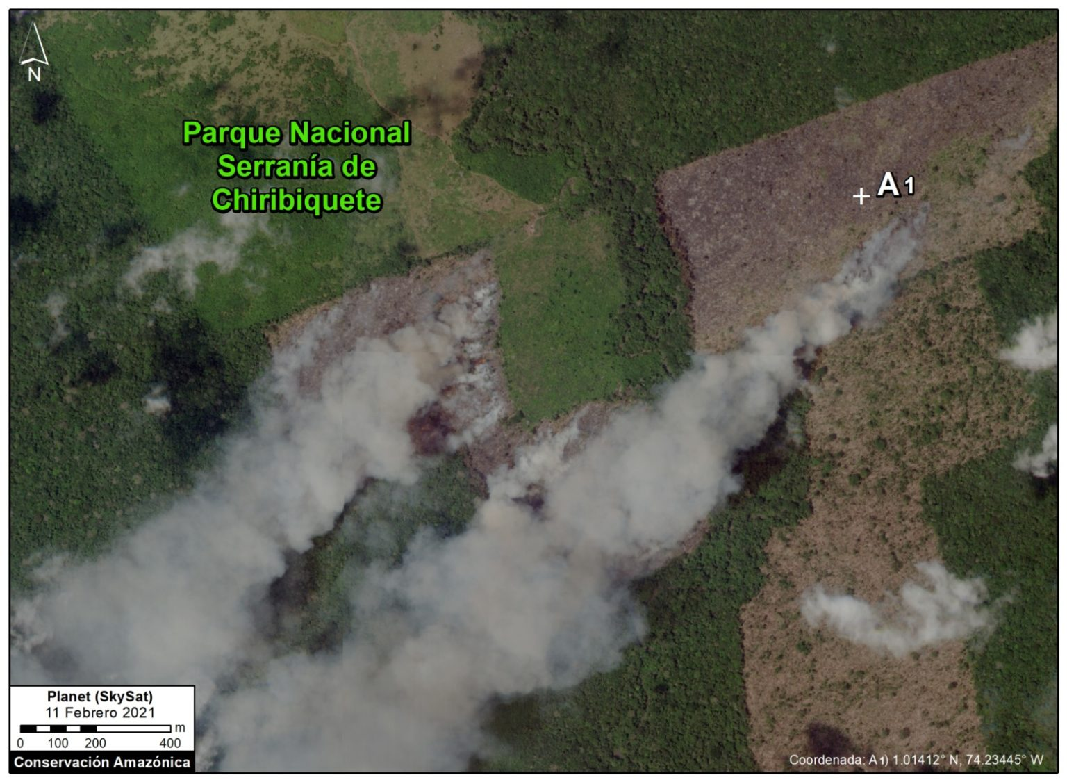 A fire inside Chiribiquete National Park (image captured Feb. 11, 2021) burned areas that had recently been deforested. Image courtesy of Planet (SkySat).