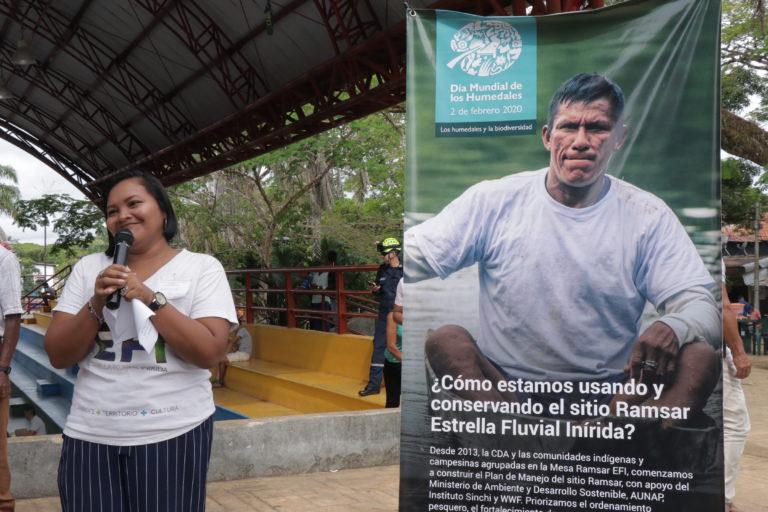 Rosa Durán en un evento el Día de los Humedales el 2 de febrero de 2020. Foto: WWF Colombia.