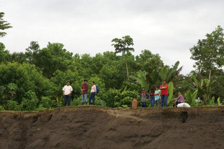 Los habitantes de la comuna Amarun Mesa, ubicada a orillas del río Napo, en la provincia de Orellana, han tenido que replegarse cada vez más ante los derrumbes que ocasionan las corrientes. Foto: Diego Cazar Baquero.