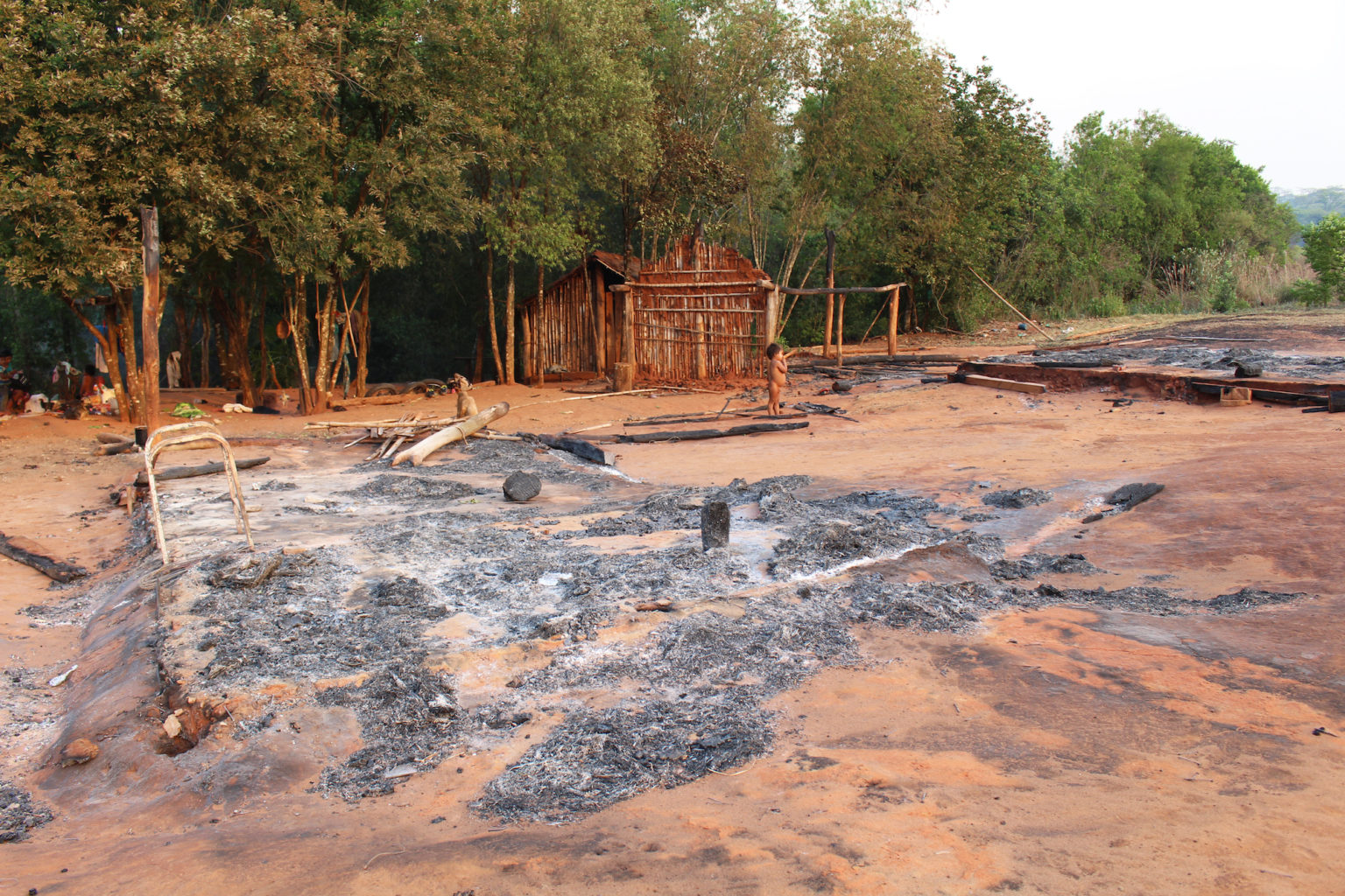 The fire affected several indigenous communities living within the reserve. The family home of Ramón Benítez, a member of the Pykasu'i community, was destroyed by the flames. Image by Hugo Garay/WWF.