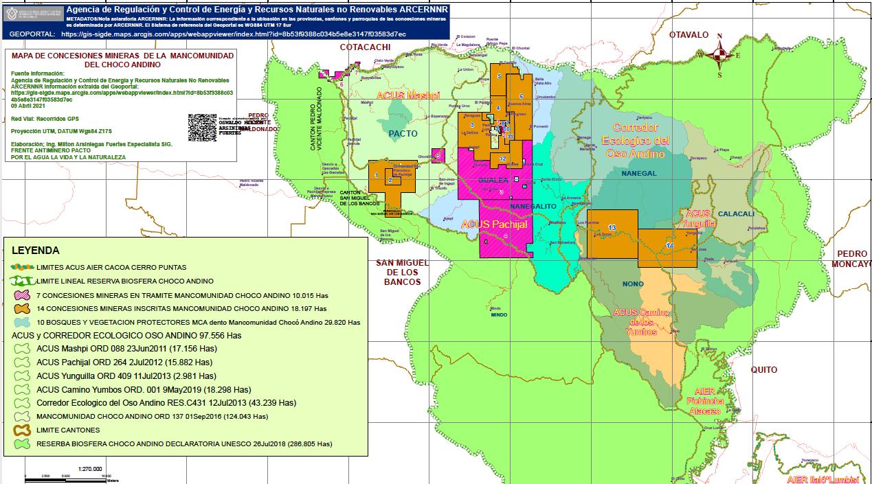 Concesiones mineras en las parroquias de Quito que hacen parte de la Reserva de Biosfera del Chocó Andino.