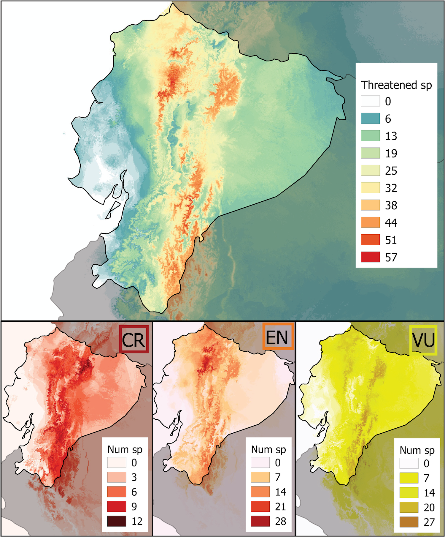 Riqueza acumulada de especies amenazadas por categoría de la Lista Roja. Imagen: Red List assessment of amphibian species of Ecuador: A multidimensional approach for their conservation.