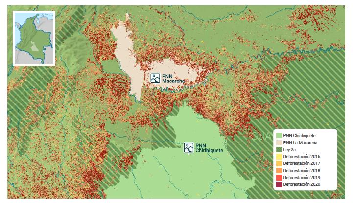 Deforestación entre 2016 y 2020 en los parques Sierra de La Macarena y Serranía de Chiribiquete. Mapa de elaboración de EIA.