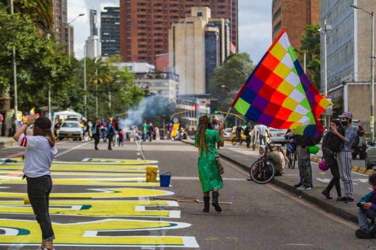 Eventos del paro nacional ambiental en las calles de Bogotá 5 de junio 2021. Foto: Twitter de @R2CamiRojas.