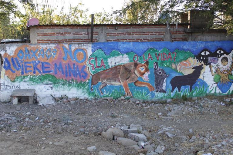 Los habitantes de Magdalena Ocotlán acusan en sus murales a la minería de matar a los animales y contaminar el medio ambiente. Foto: Roxana Romero.