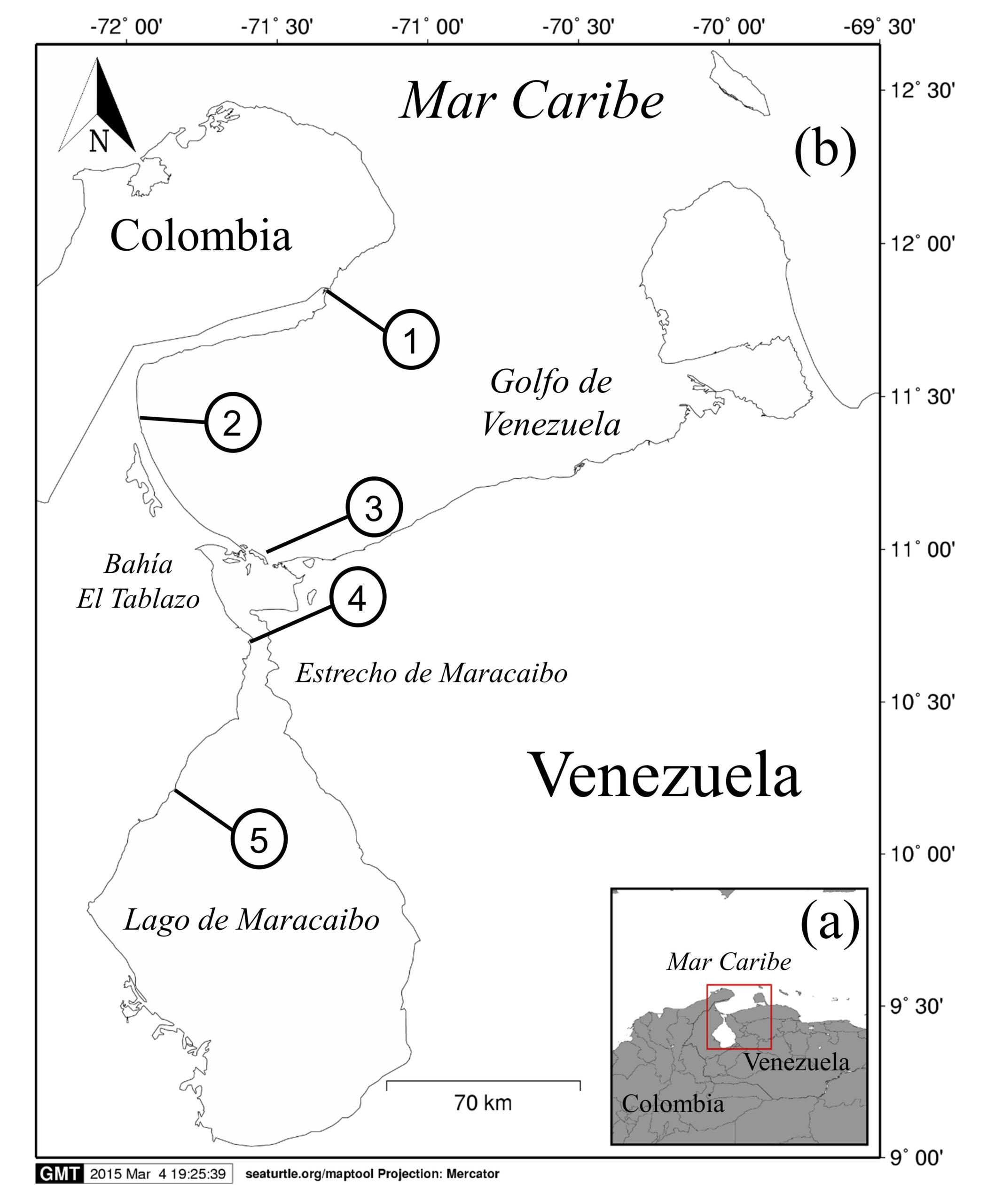 Sistema del Lago de Maracaibo. (a) Ubicación geográfica del sistema. (b) Ubicación relativa de los puertos pesqueros monitoreados dentro del Sistema del Lago de Maracaibo con presencia verificada del camarón tigre. Números en mapa (b) corresponden a los puestos: (1) Laguna de Cocinetas, Castilletes; (2) Caño Sagua; (3) Isla Zapara; (4) Santa Rosa de Agua; (5) Curarire. Publicado en Ecotrópicos, diciembre 2020.