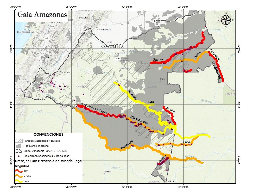 Ríos amazónicos con presencia de minería ilegal en 2020. Mapa: Fundación GAIA Amazonas.