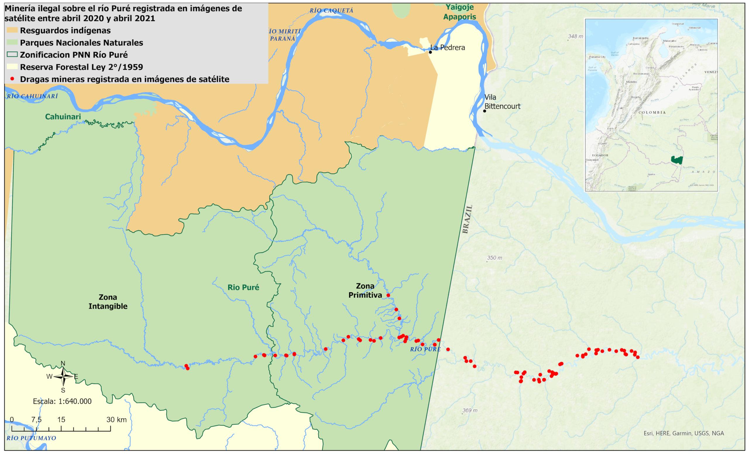 Dragas mineras ilegales regristradas a lo largo del río Puré. Colombia y Brasil. Cortesía: MAXAR.