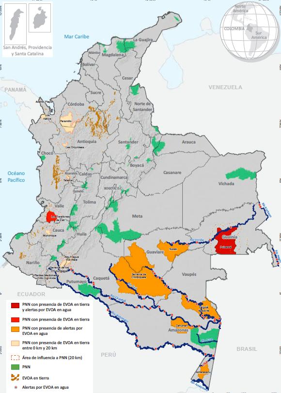 Sistema de Parques Nacionales Naturales y EVOA, 2020. Fuente: para EVOA: Gobierno de Colombia - Sistema de monitoreo apoyado por UNODC; para PNN: Parques Nacionales Naturales, 2019.