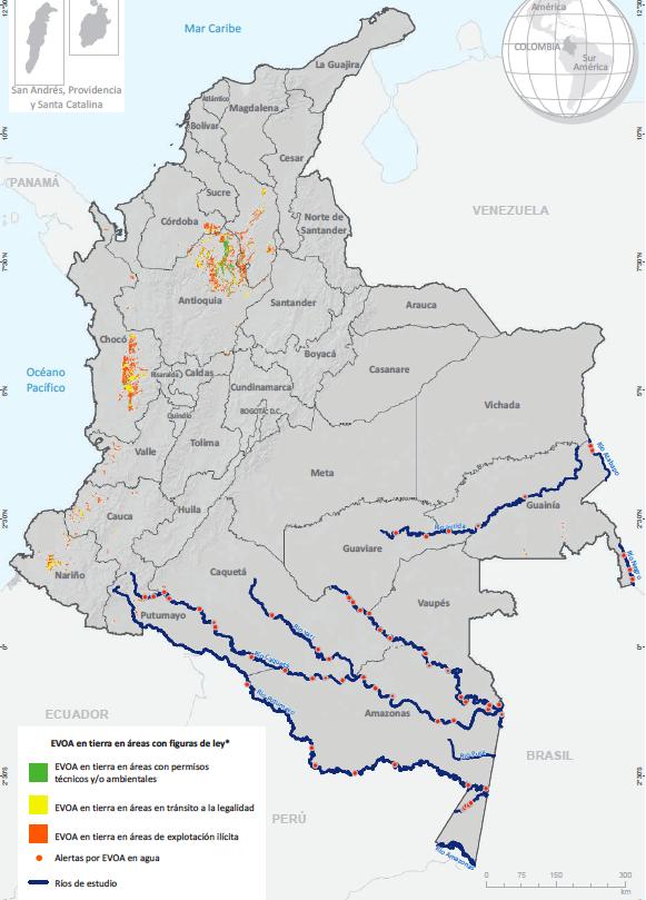 Distribución de EVOA. 2020. Fuente: Gobierno de Colombia - Sistema de monitoreo apoyado por UNODC; para figuras de ley: Ministerio de Minas y Energía.