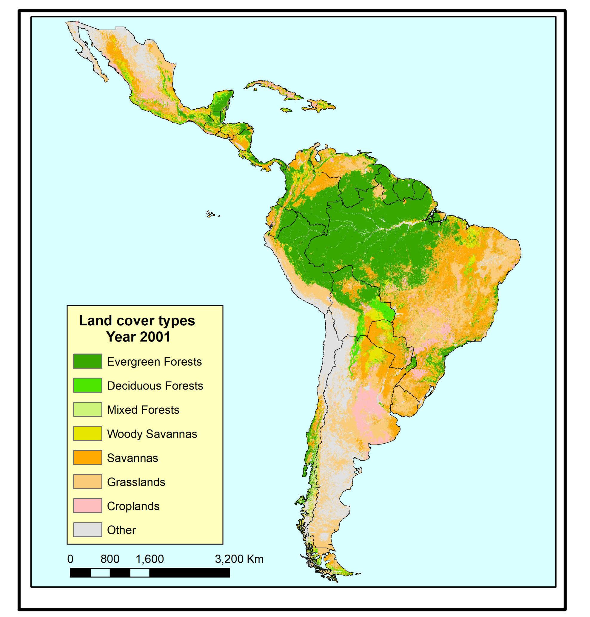 Coberturas de la tierra para el año 2001. Fuente: Artículo 'Pérdida inducida por incendios de los bosques con mayor biodiversidad del mundo en Latinoamérica'.