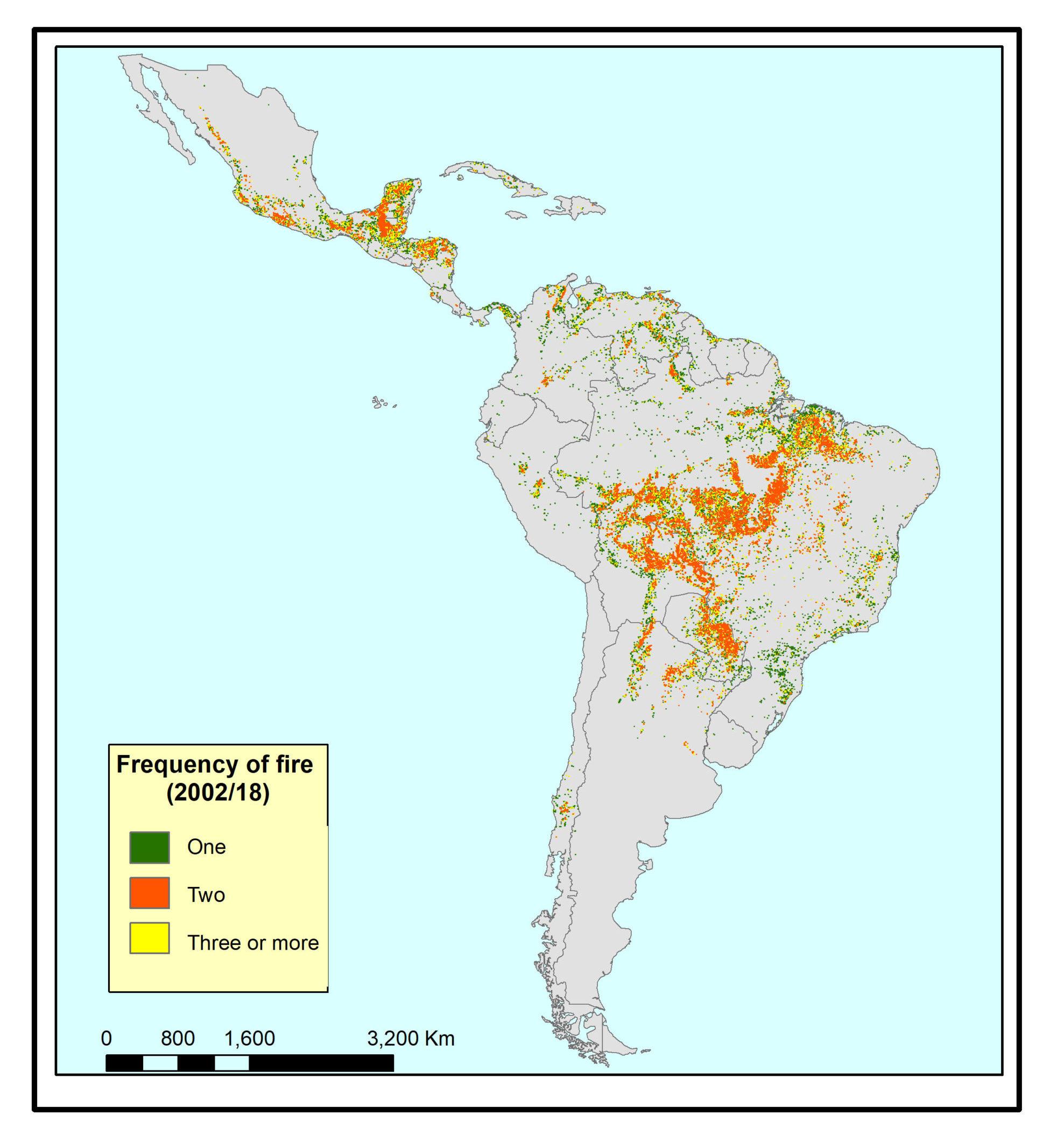 Frecuencia de incendios entres 2002 y 2018. Verde = 1 incendio. Rojo = 2 incendios. Amarillo = 3 o más incendios. Fuente: Artículo 'Pérdida inducida por incendios de los bosques con mayor biodiversidad del mundo en Latinoamérica'.