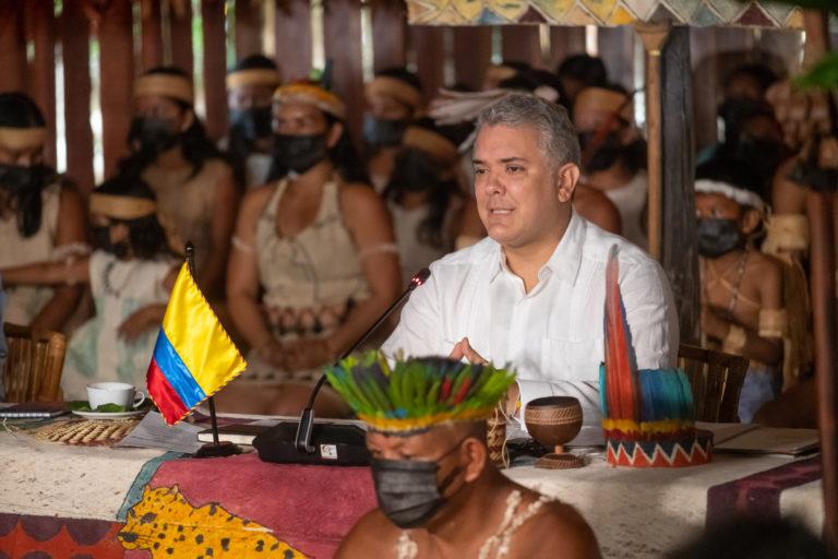 Desde Leticia, el Presidente Iván Duque Márquez planteó este lunes 30 de agosto, ante los líderes mundiales reunidos en la PreCOP de Biodiversidad, acciones prioritarias para enfrenta la pérdida de biodiversidad. Foto: Efraín Herrera - Presidencia de colombia.