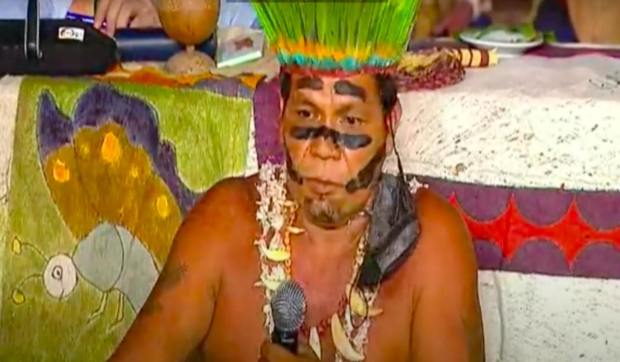 Absalón Arango, capitán de la comunidad indígena Yusi Monilla Amena, Leticia, Amazonas, Colombia. Foto: Youtube CBD.