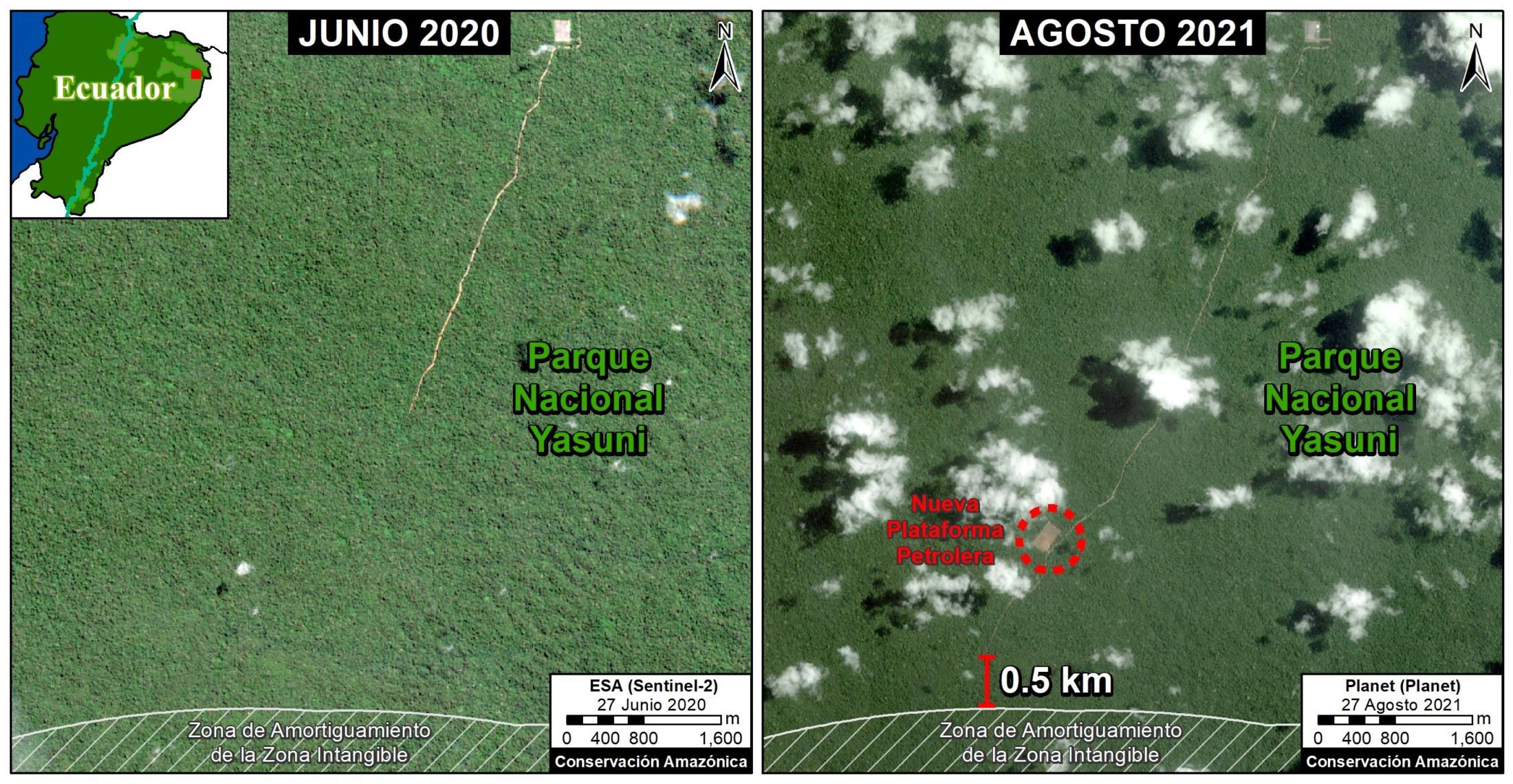 Actualización de 31 agosto 2021. Prolongación de 3 km adicionales a la vía de acceso petrolero en dirección a la Zona Intangible en agosto de 2021. Imagen: cortesía MAAP.