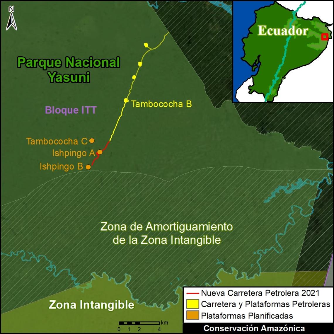 Mapa Base. La extensión de la vía de acceso (en rojo) se acerca a las plataformas planificadas dentro del campo Ishpingo y a la Zona Intangible. Datos: ACA/MAAP.