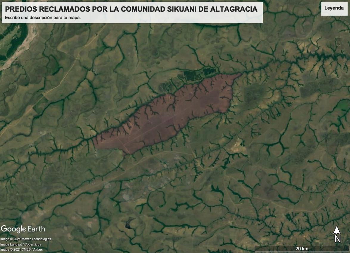 En color marrón se ve Altagracia, territorio ancestral sikuani hoy dividido en 14 predios. Foto: Google Earth.