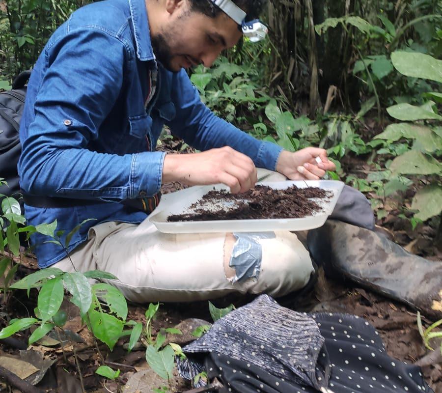 Alex Pazmiño en trabajo de campo. Foto: Archivo particular.