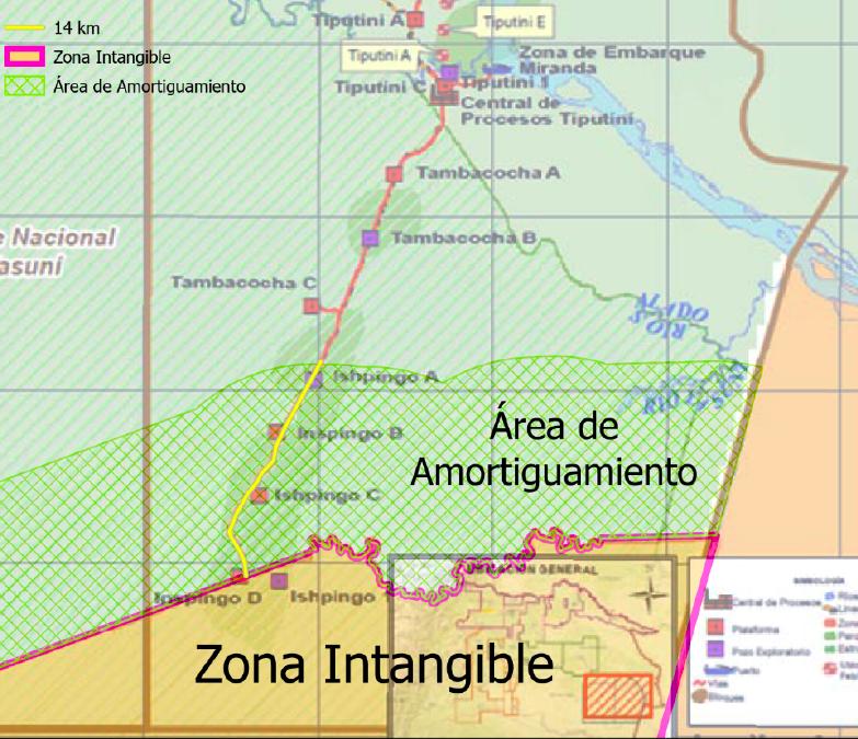 """Realizado por: Carlos Mazabanda, Amazon Watch. Fuente: Mapa """"Facilidades Bloques 43 - 31"""", Petroamazonas EP, 2020."""