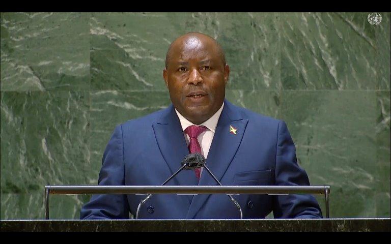 Le Président Evariste Ndayishimiye à la tribune de l'ONU/ Photo de Présidence de la République du Burundi.