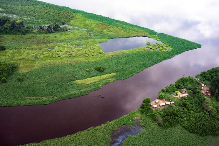 Vue aérienne d'une parftie du bassin du Congo/Photo de GreenPeace