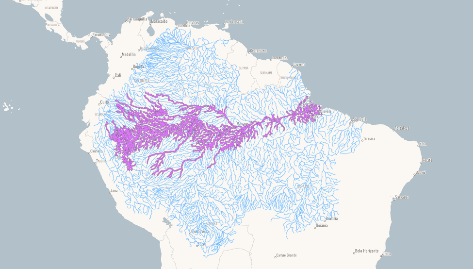 A map from the River Dolphin Dashboard shows the distribution of the tucuxi based on data collected by the South American River Dolphin Initiative. Image courtesy of SARDI/WWF Brazil.