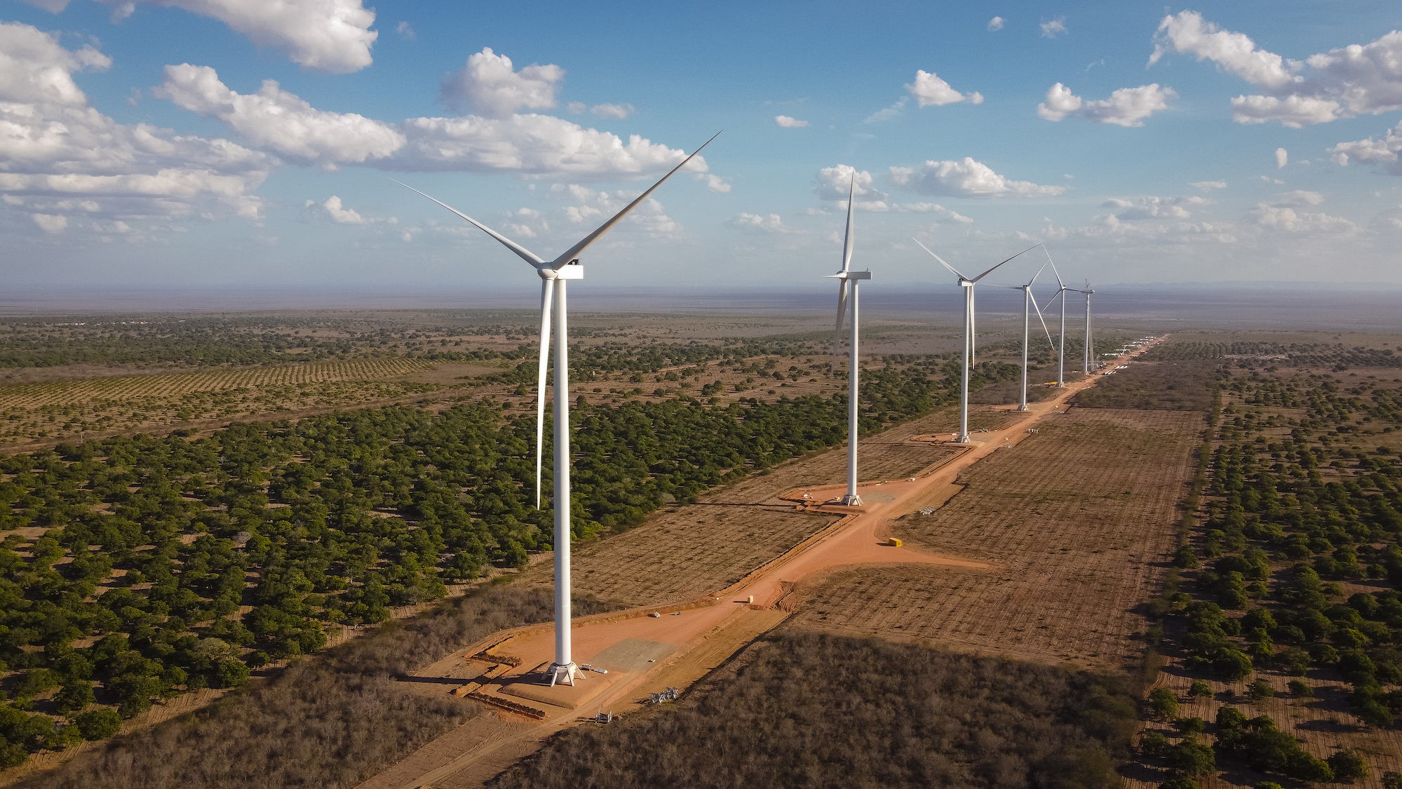 An artist's rendering of the wind turbines to be installed at the Canudos wind farm. Image courtesy of Voltalia.