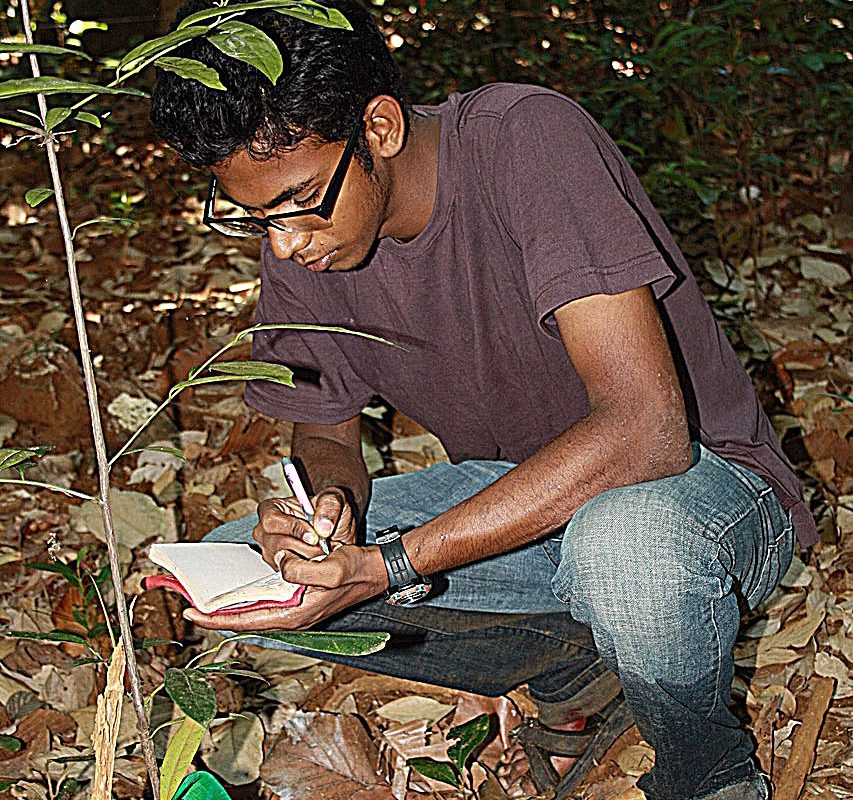 Nitya Mohanty studying the bullfrog habitat. Photo credit: Karthikeyan Vasudevan.