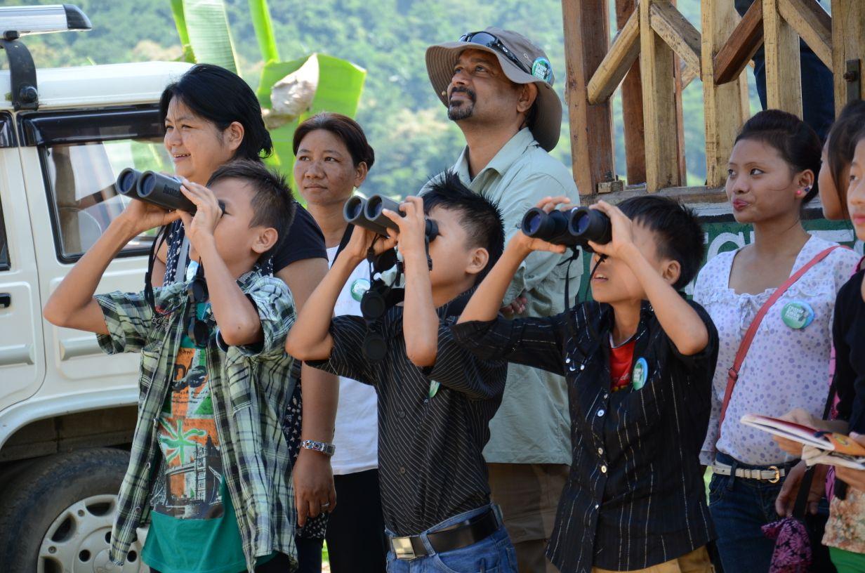 Children watch the Amur falcons at Aare New village near Pangti. Photo credit: Rokohebi Kuotsu