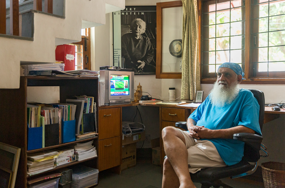 Environmentalist Ravi Chopra at his residence in Dehradun, Uttarakhand. Photo credit: Kartik Chandramouli/Mongabay.