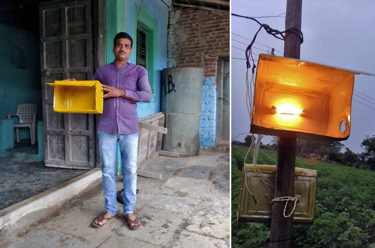 Light traps are used to attract and terminate pests, but their effectiveness hasn't been beneficial for the farmers. Photo credit: Meena Menon