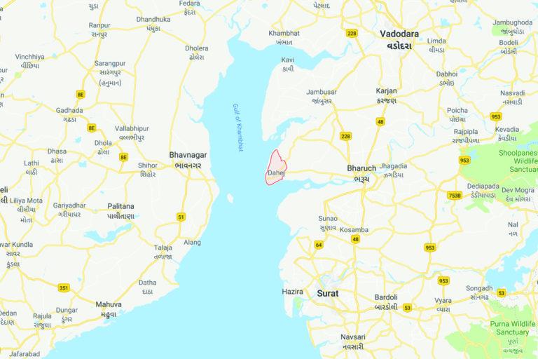 Dahej, Gujarat. Map from Google Maps.