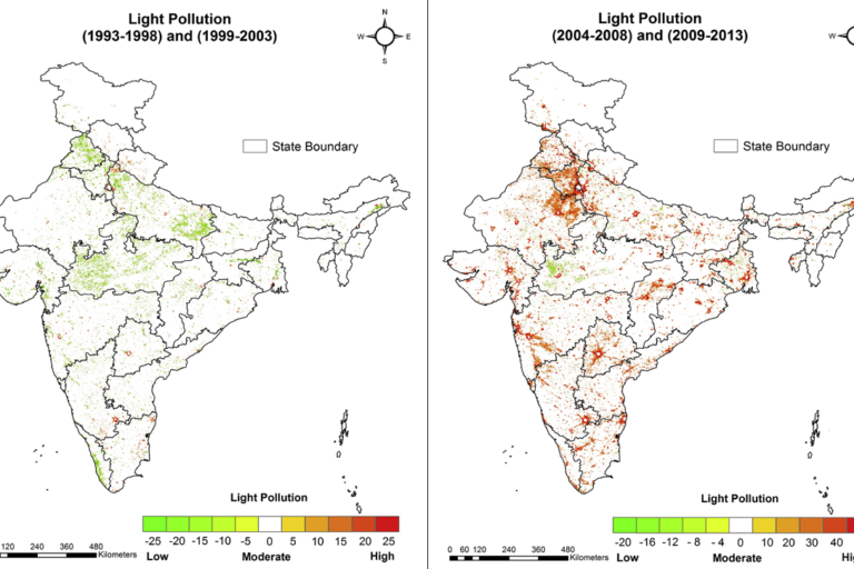 "New Delhi, Telangana, Maharashtra, Karnataka and Uttar Pradesh experienced increase in ""very high light pollution intensity"" from 1993 to 2013. West Bengal, Gujarat and Tamil Nadu witnessed a remarkable change from low to high light pollution. Photo credit: Pavan Kumar et al."