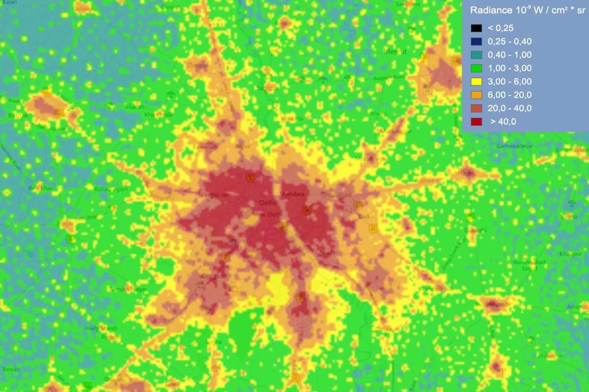 Light pollution map of Delhi and it's adjacent areas. Map by Jurij Stare, www.lightpollutionmap.info. VIIRS/DMSP data credit: Earth Observation Group, NOAA National Geophysical Data Center.
