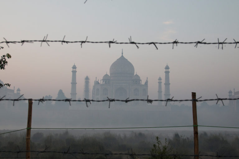 Pollution around the Taj Mahal in India