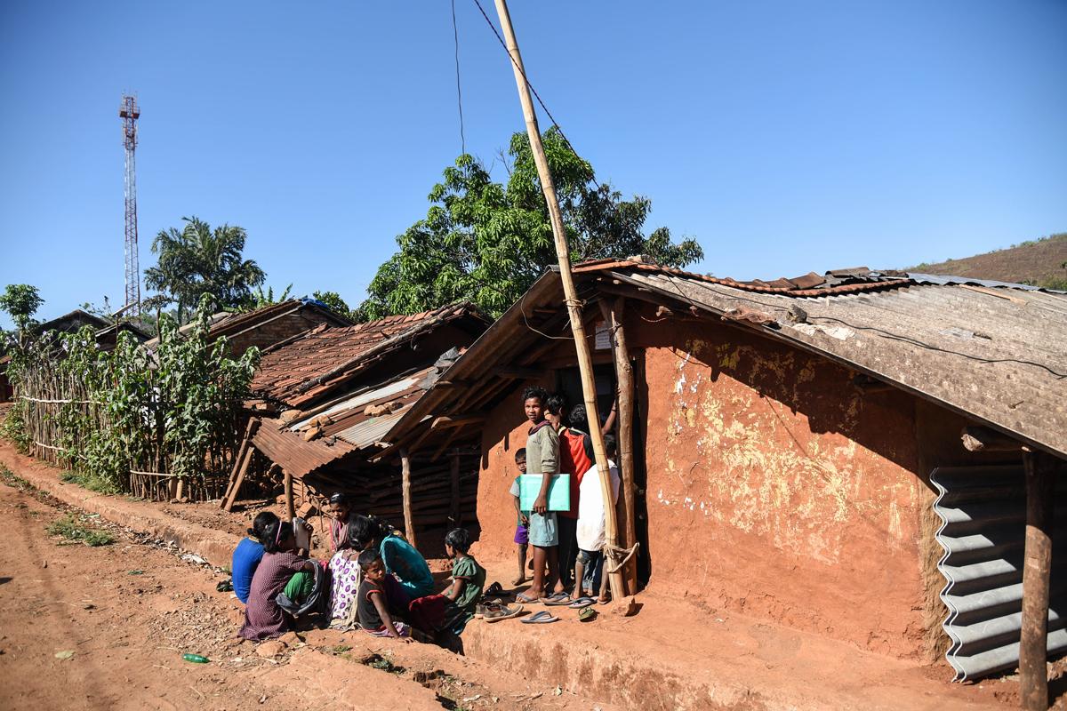 Typical Bonda settlement at Mudulipada panchayat in Bonda hills.