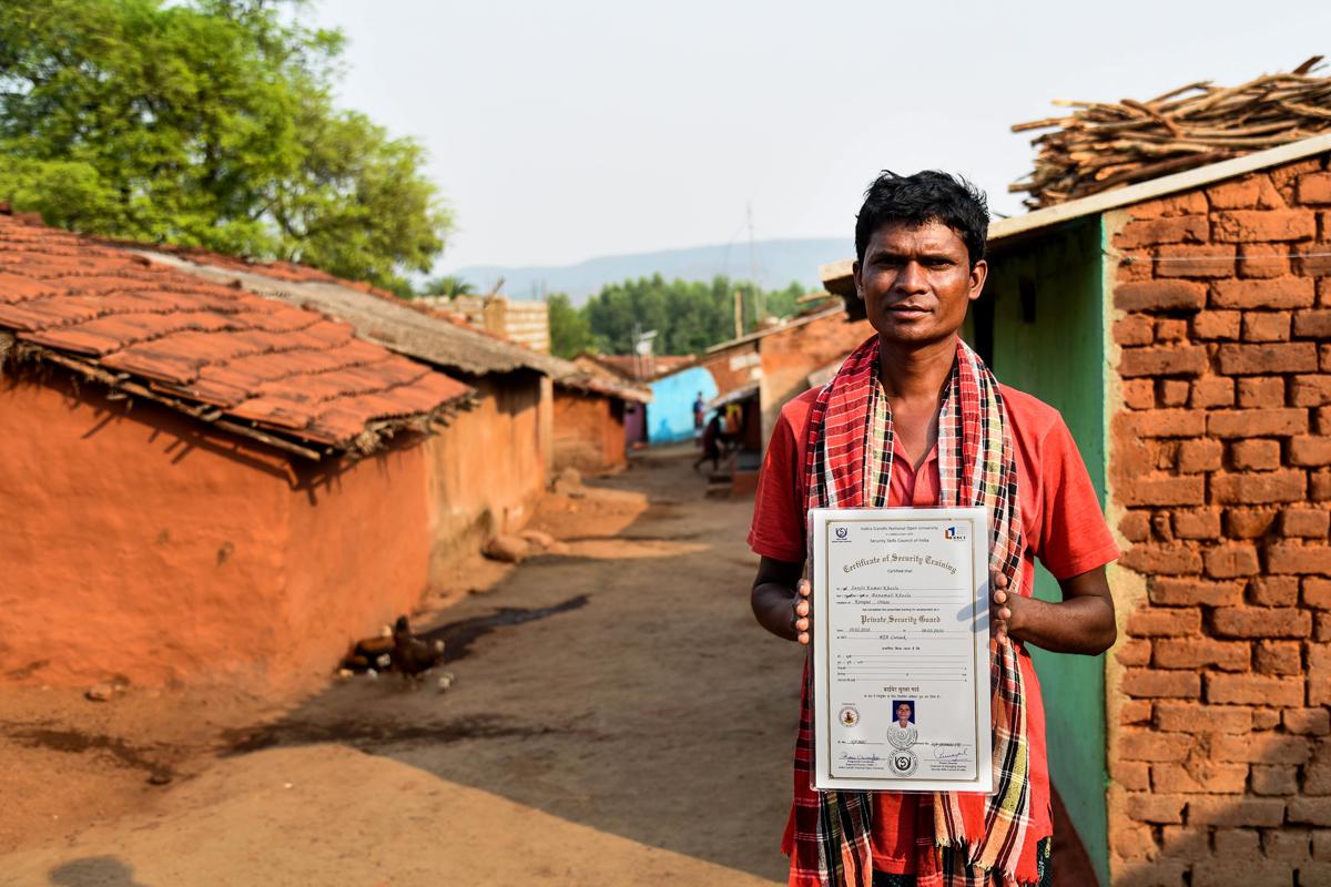 Sanjit Kumar Khosla from Dasamantpur block quit his job as a security guard at a mining company due to non-payment of salary. Credit: Tanmoy Bhaduri/MongaBay