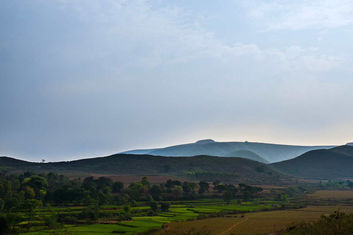 Agricultural lands adjourning foothills of Kodingamali. Photo by Tanmoy Bhaduri.