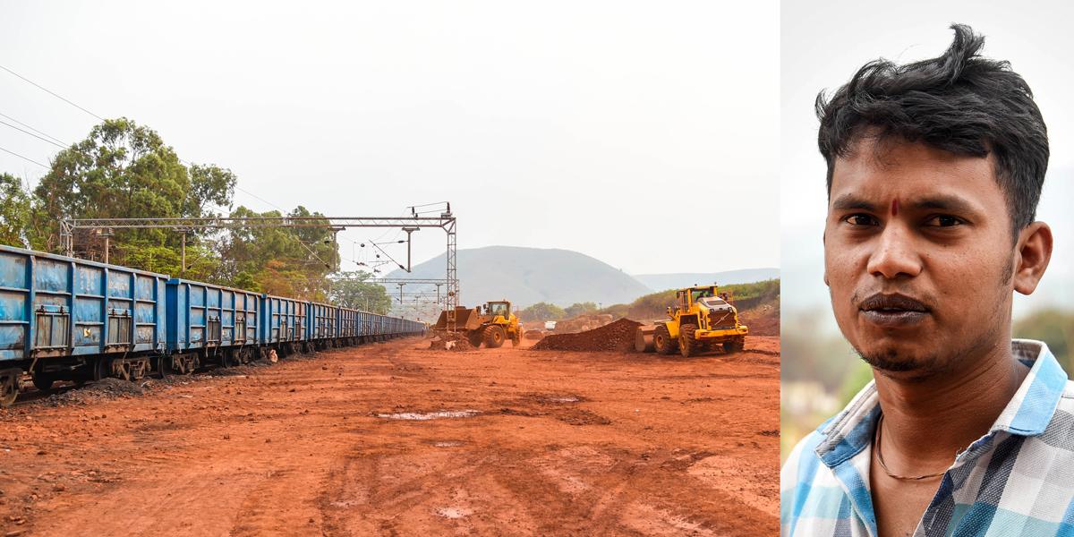 Trucks dump minerals at Kakiriguma Railway station to be transported to Vedanta's refinery at Lanjigarh. (R) Tukuna Bisoi, an environment activist. Credit: Tanmoy Bhaduri/MongaBay