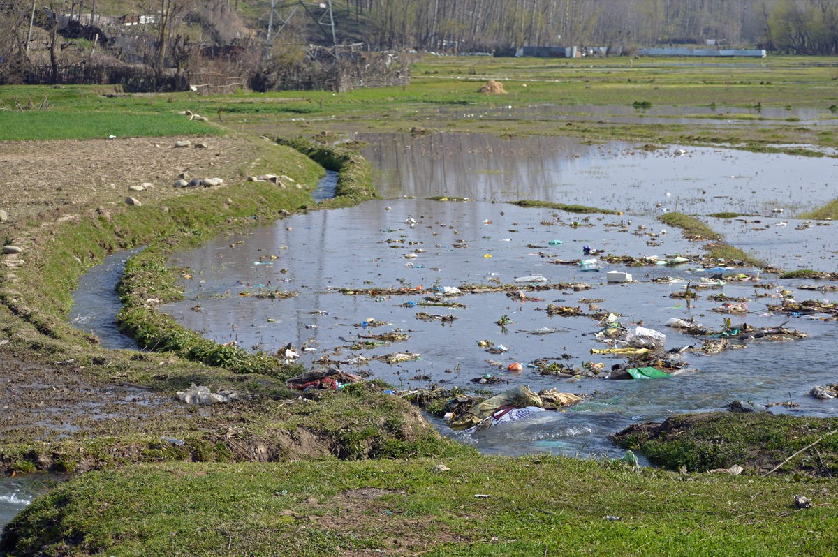 Plastic waste from markets accumulates in water bodies and agricultural lands. Photo by Athar Parvaiz.