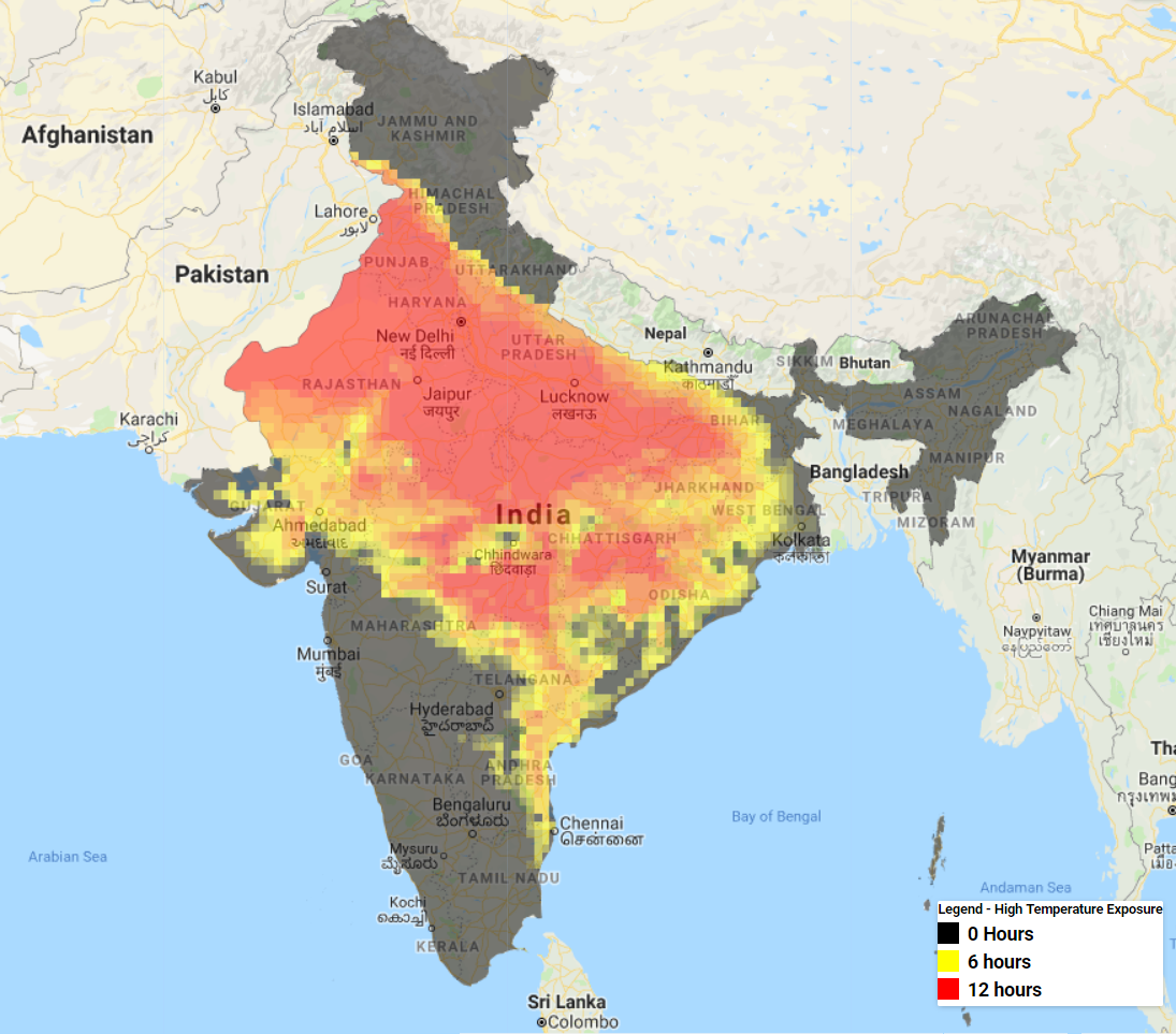 Nearly two-thirds of India's population were exposed to high temperatures of over 40 degrees Celsius on 10th June. Data: GFS Temperature Estimates, GPWv4, MODIS (LPDAAC – NASA), Processed by Raj Bhagat Palanichamy using the Google Earth Engine.