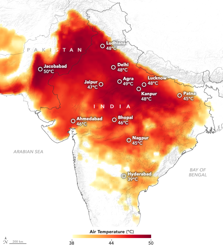 India is experiencing one of the worst heatwave spells in the last several decades. Credit: NASA Earth Observatory image by Joshua Stevens, using GEOS-5 data from the Global Modeling and Assimilation Office at NASA GSFC.