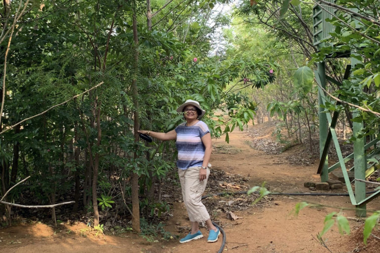 Kriti Anand in her three-year-old forest. Kriti Anand in her three-year-old forest in outskirts of Secunderabad (Telangana) that was grown using the Miyawaki method. Photo from Kirti Anand.Photo from Kirti Anand.