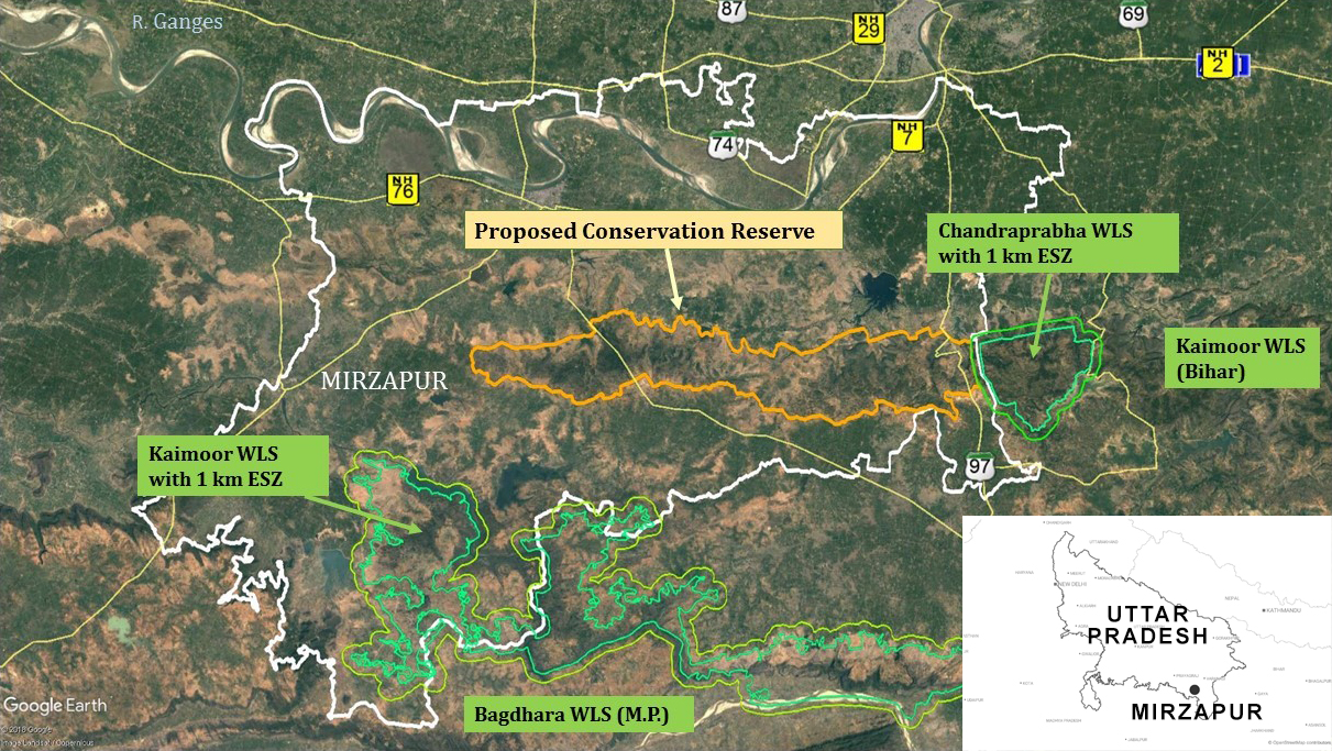 The study suggests notifying a part of the Mirzapur's forest area in Uttar Pradesh as a conservation reserve which will help safeguard the wildlife corridor for protected areas around it. Map adapted from the study published by Vindhyan Ecology and Natural History Foundation.