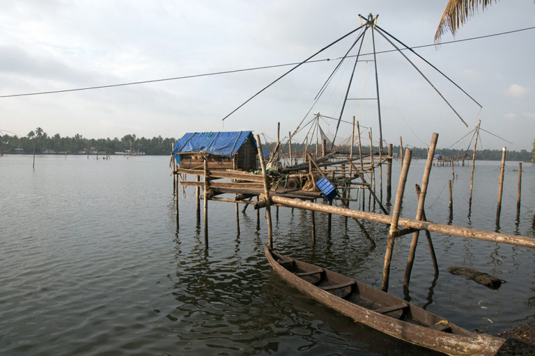 The Chinese fishing net in Kodungalloor, Kerala, where Jaison Kallarackal caught the arapaima. The fish probably escaped from aquaculture facilities during the floods, and are now 'fugitives' in the natural ecosystem, claim reserachers. Photo from Smrithy Raj.