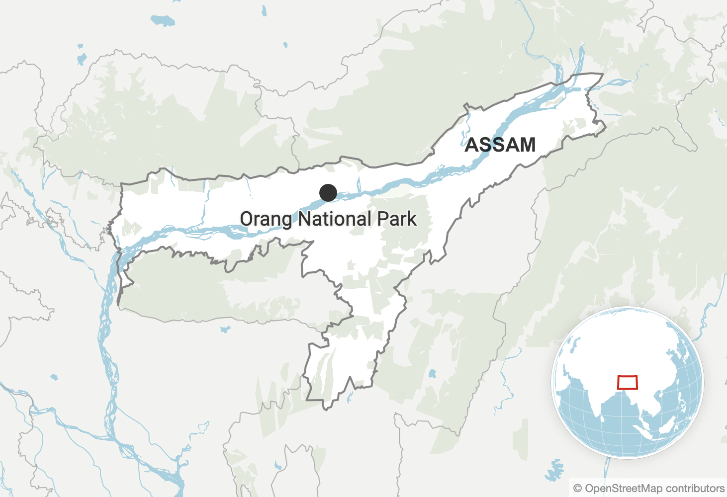 Oorang National Park in Assam. Map made with Datawrapper.